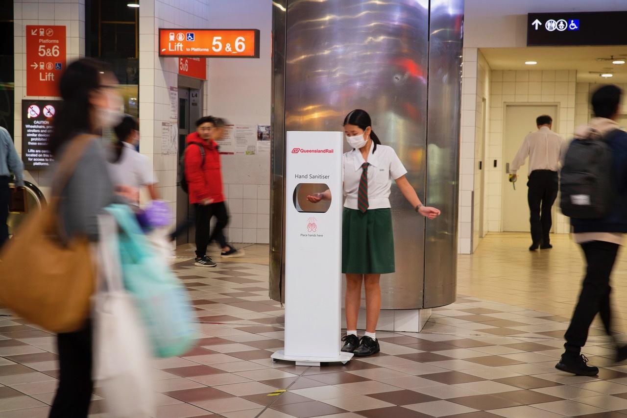 Sanitation Station Sanitiser Stand In Action